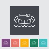 Canoe icon. Canoe outline icon on the button. Vector illustration Royalty Free Stock Images