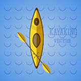 Canoe icon vector. Kayak on blue waves. Summer icon and badge. Camping illustration Stock Photo