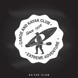 Canoe and kayak club badge. Vector illustration. Stock Image