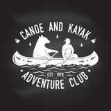 Canoe and Kayak club. Vector illustration. Royalty Free Stock Photo
