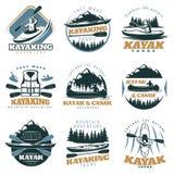 Canoe Kayak Emblem Set. Nine isolated colorful emblems set with kayak and canoe mountain tours with adventure tours retro symbols vector illustration Royalty Free Stock Photo