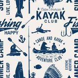 Canoe, Kayak and fishing Club seamless pattern. Vector illustration. Concept for shirt, print, stamp, badge or tee. Vintage typography design with kayaker and Royalty Free Stock Photos
