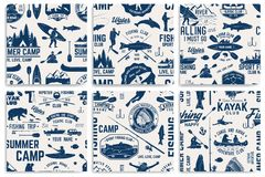 Canoe, Kayak and fishing Club seamless pattern. Set of Canoe, Kayak and fishing Club seamless pattern. Vector. Concept for shirt, print, stamp, badge or tee Royalty Free Stock Photos