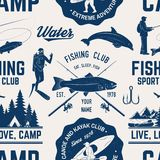 Canoe, Kayak and fishing Club seamless pattern. Vector illustration. Concept for shirt, print, stamp, badge or tee. Vintage typography design with kayaker and Stock Photo