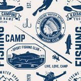 Canoe, Kayak and fishing Club seamless pattern. Vector illustration. Concept for shirt, print, stamp, badge or tee. Vintage typography design with kayaker and Royalty Free Stock Image