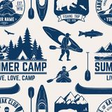 Canoe, Kayak and fishing Club seamless pattern. Vector illustration. Concept for shirt, print, stamp, badge or tee. Vintage typography design with kayaker and Stock Images