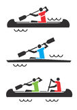 Canoe kayak icons. Stock Photo
