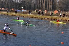 Canoe and kayak race Stock Images