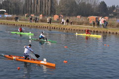 Canoe and kayak race Stock Photos