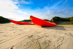 Canoe or kayak sports are popular among summer vacationers. Stock Photo