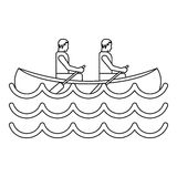 Canoe kayak with two persons icon, simple style Stock Photos