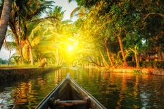 Canoe in Kerala backwaters Royalty Free Stock Images