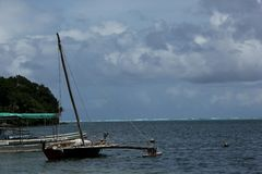 Canoe. A Canoe in the lagoon of the island of Yap, Federate States of Micronesia Stock Images