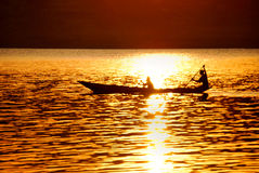 Canoe on lake. Bunyonyi in western uganda east africa Royalty Free Stock Image