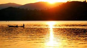 Canoe on lake. Bunyonyi in western uganda east africa Royalty Free Stock Photos