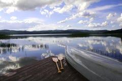 Canoe at a lake. Canoe at a quiet swedish lake Stock Photography