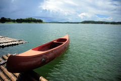 Canoe in the lake. Royalty Free Stock Photos