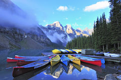 Canoe on the lake at canadian rocky Stock Image