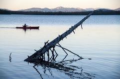 Canoe in Lake Stock Image