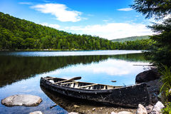 Canoe at the Lake. Somewhere along the Appalachian Trail in the US Stock Image