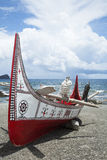 The canoe in Lanyu. The canoe in Lanyu of Taiwan Stock Photography