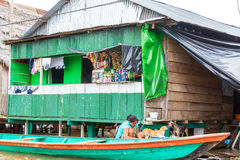 Canoe and Market in Iquitos, Peru royalty free stock image