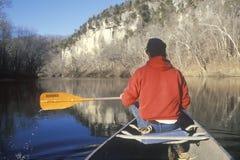Canoe on Meremac River, Royalty Free Stock Photos