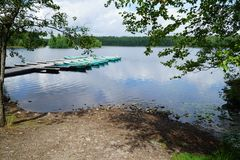 Canoe messe in bacino fotografia stock