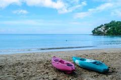 Canoe moored on the Kamala beach. In Phuket Thailand Royalty Free Stock Photos