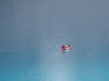 Canoe on the moraine lake Stock Photography