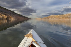 Canoe on mountain lake Stock Photo