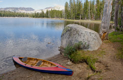 Canoe on Nevada Wrights lake Stock Photography