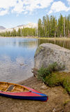 Canoe by Nevada Wrights Lake Royalty Free Stock Photos