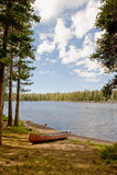 Canoe by Nevada Wrights Lake Royalty Free Stock Photography