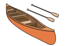 Canoe with Paddle Illustration. Isolated Stock Photography