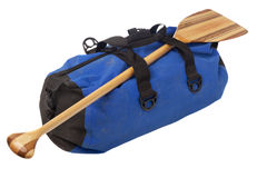 Canoe paddle and waterproof duffel Stock Images