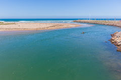 Canoe Paddler River Mouth Ocean Landscape Stock Photography