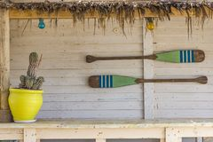 Canoe paddles hanging on the wall. Royalty Free Stock Images