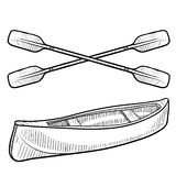 Canoe and paddles sketch Royalty Free Stock Photos
