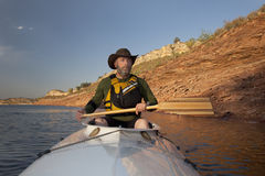 Canoe paddling in Colorado Royalty Free Stock Photography