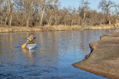 Canoe paddling on South Platte RIver Stock Photography