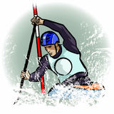 Canoe player. Vector illustration of a canoe player in dry chalkcharcoal pencil and watercolor technique Stock Photo