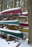 Canoes in Winter stock image