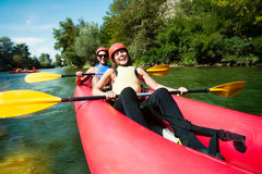 Canoe rafting team of two Stock Photo
