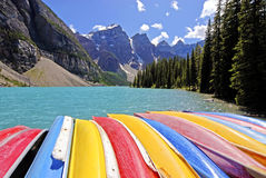 Canoe for rent in lake louise Royalty Free Stock Photos