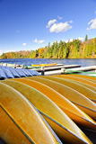 Canoe rental on autumn lake Stock Image