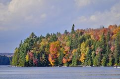 Canoe rental on autumn lake in Algonquin Park. stock photography