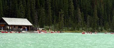 Canoe Rentals. On lake Louise in Alberta, Canada Stock Photography