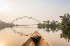 Canoe ride in Africa. Canoe ride around tropical island in Ghana, Africa Stock Image
