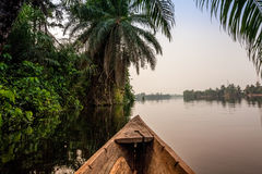 Canoe ride in Africa. Canoe ride around tropical island in Ghana, Africa Stock Photography